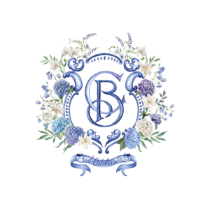 Watercolor Wedding Crest Blue and white