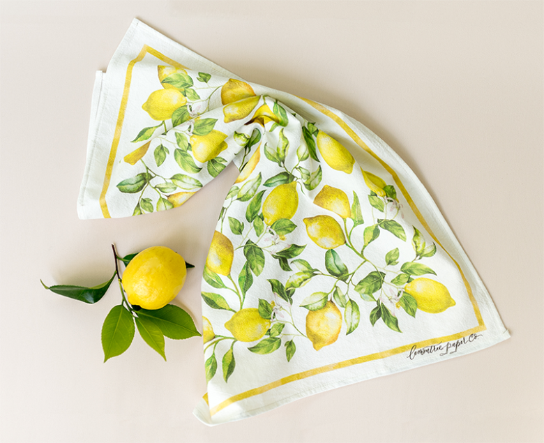 Lemon tea towel with hand painted watercolour lemons and lemon branch
