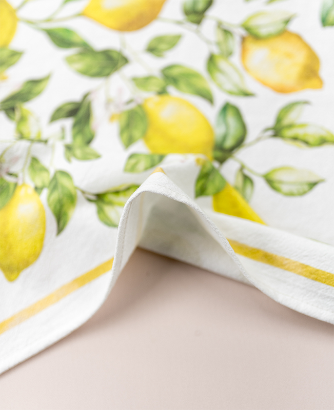 closeup of lemon tea towel edge and fabric