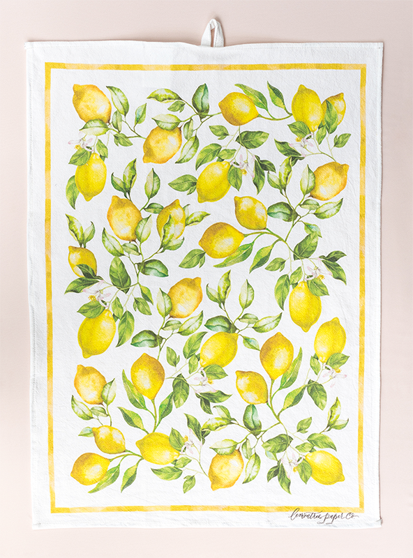 Lemon tea towel design with hand painted lemon pattern flat with loop at the top for hanging