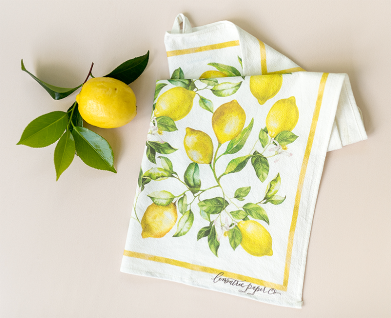 Lemon tea towel with handpainted lemon design and lemon branch