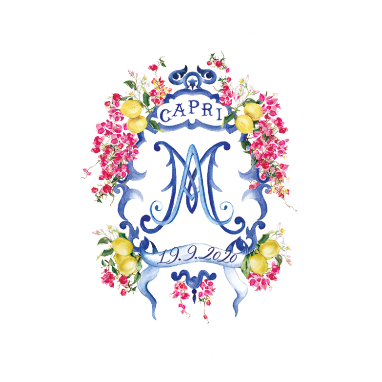 Watercolor wedding crest Capri