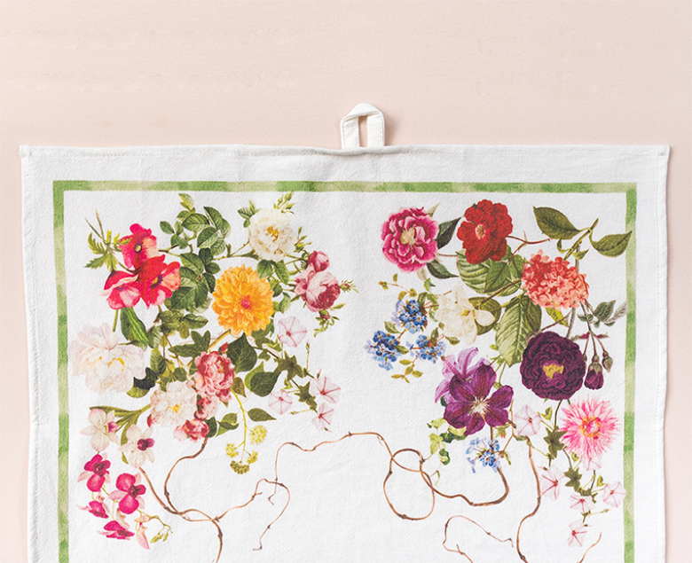 floral tea towel top half with loop including poppies, dahlias, orchids, lilies and hydrangea