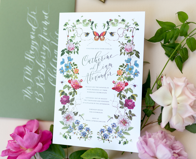 Semi-custom Botanica Collection invitation with colorful florals
