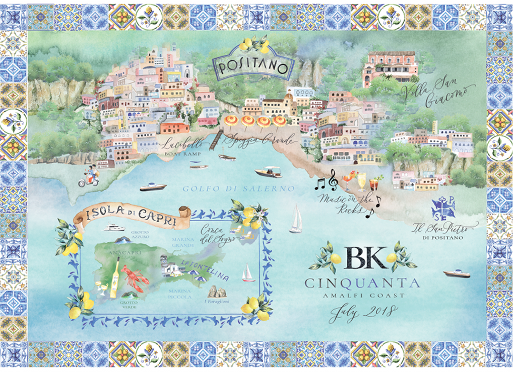 Custom map of Positano and Capi in watercolour by Lemontree Paper Co