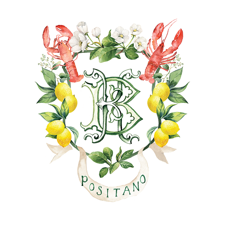 Custom watercolor crest for a 50th Birthday in Positano, Italy with lobsters and lemons
