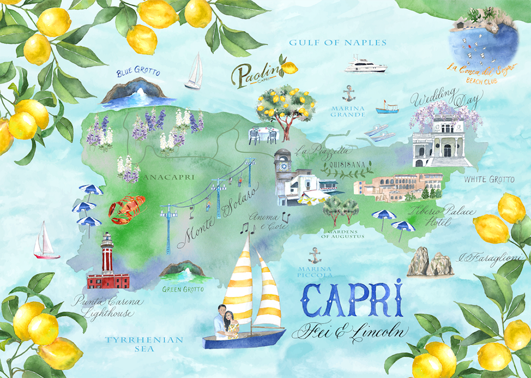 Custom map of Capri Italy for the wedding of Feiping Chang and Lincoln Li