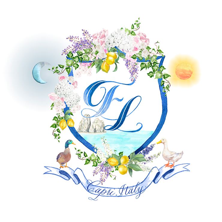 Custom wedding crest for a wedding in Capri Italy for Fei and Lincoln