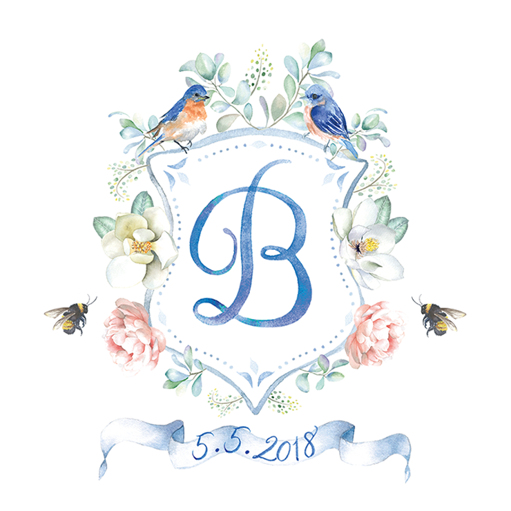 Custom wedding crest with monogram, two bluebirds and bees