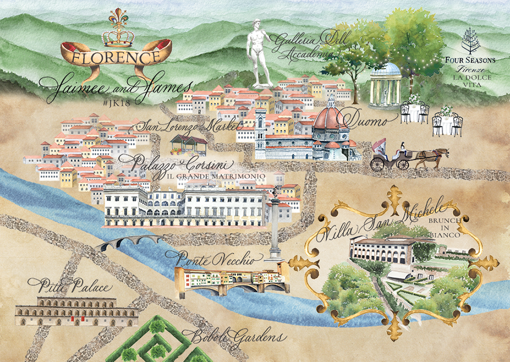 Custom watercolor map of Florence, Italy hand illustrated for a wedding in 2018