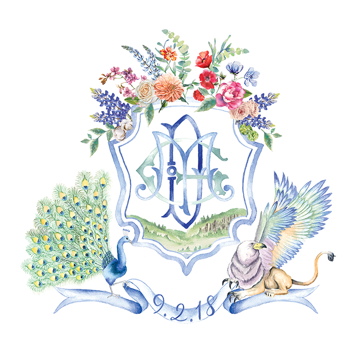 Custom wedding crest with colourful florals, peacock and griffin