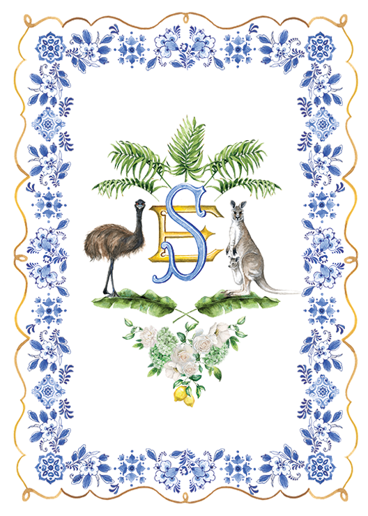 Custom invitation design monogram with australian animals, palms and banana leaves