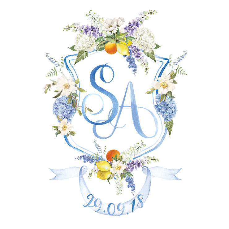 wedding crest with citrus, hydrangea, magnolias and delphinium