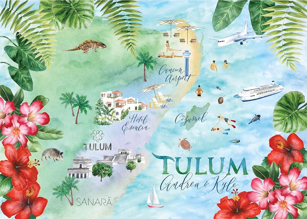 Custom map of Tulum Mexico in watercolor with hibiscus and cactus flower