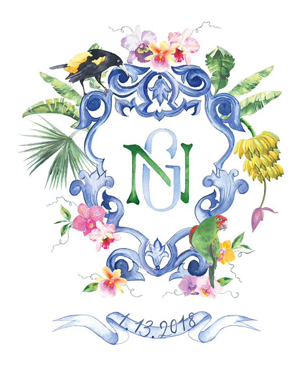 Custom Lemontree Paper Co Crest with banana stem, parrots and orchids