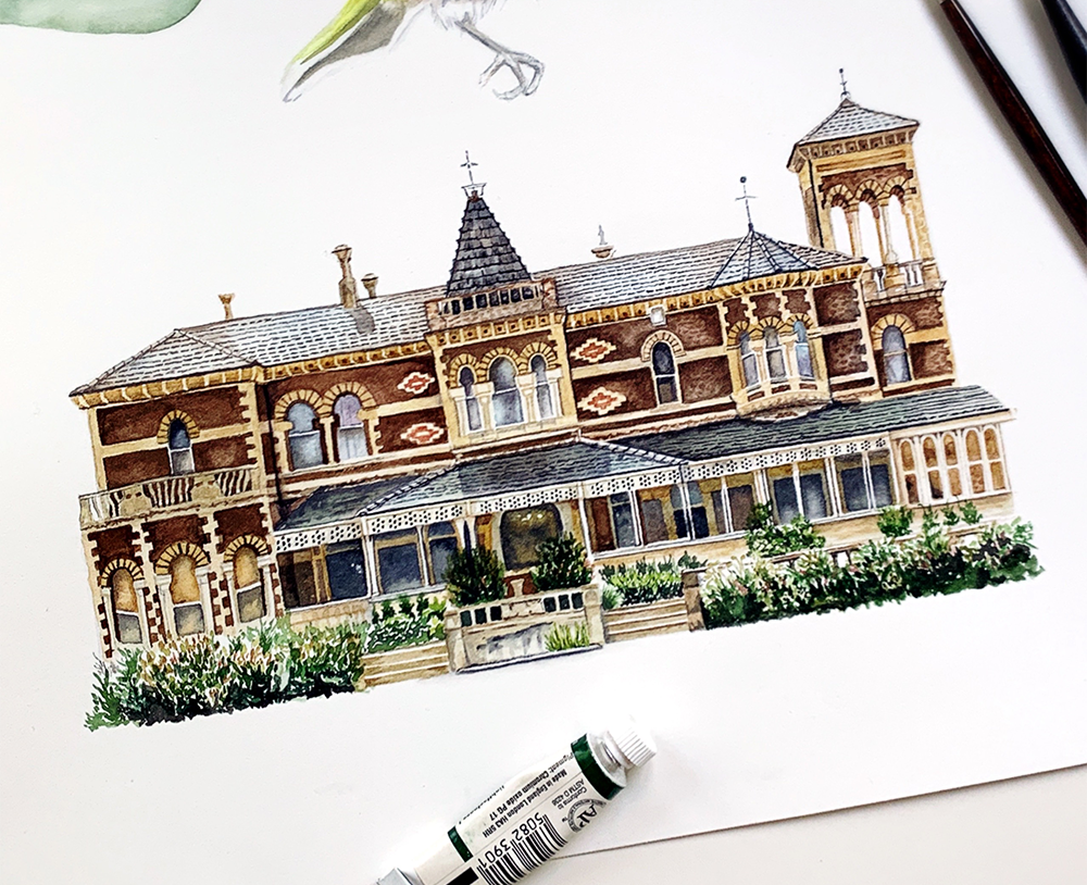 Watercolor venue illustration