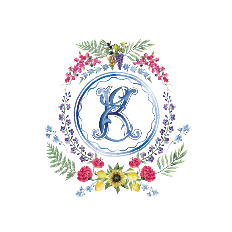Watercolor crest with Palastinian florals for Ravello Wedding