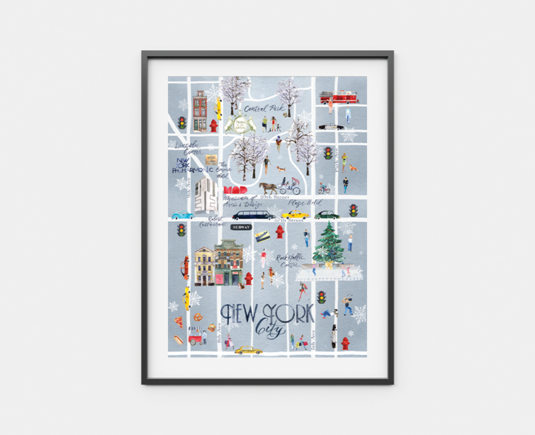 Framed watercolor map of New York City
