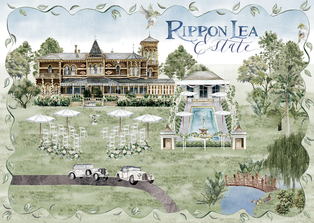 Watercolor map of RipponLea Estate