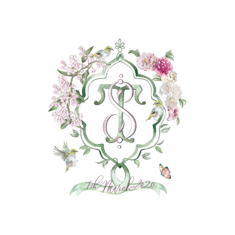 Watercolor wedding crest