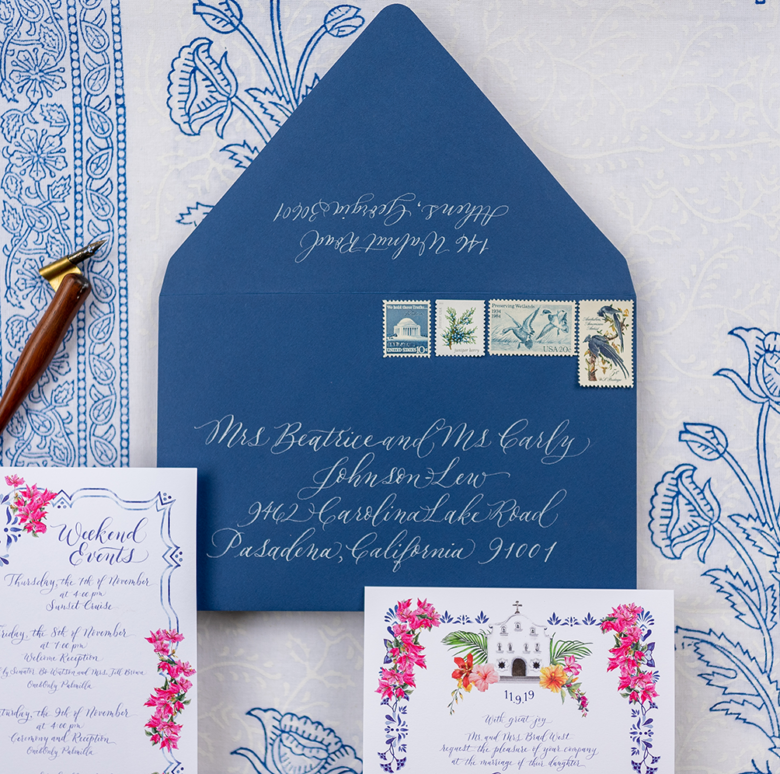 White and Blue envelope calligraphy