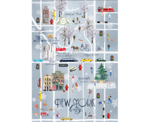 Watercolor Map of New York City in Winter