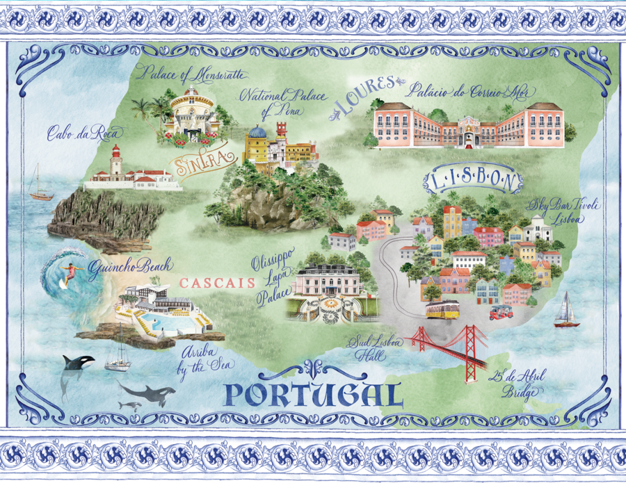 Watercolor map of Portugal, wedding map, Lemontree Paper Co